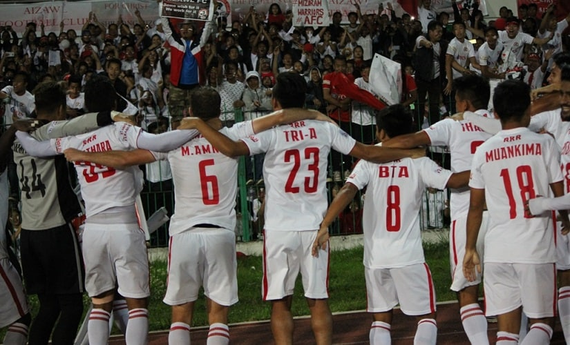 Aizawl players celebrate their I-League title with their supporters on Sunday. Image courtesy: AIFF media