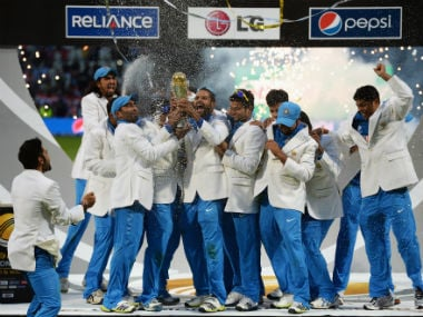 The victorious Indian team with the trophy. Getty Images