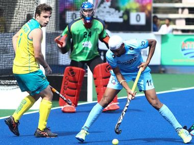 India in action against Australia at the Sultan Azlan Shah Cup. Image courtesy: Twitter/@HockeyIndia