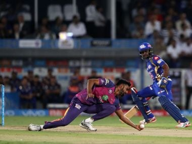 Jaydev Unadkat of Rising Pune Supergiant takes the catch to dismiss Lendl Simmons. Sportzpics