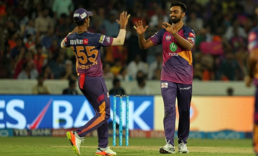 Jaydev Unadkat of Rising Pune Supergiant celebrates wicket of Yuvraj Singh of Sunrisers Hyderabad. Sportzpics