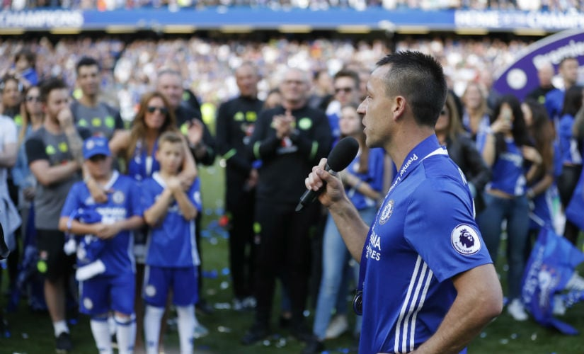 John Terry addresses players and family after winning the title with Chelsea. AP