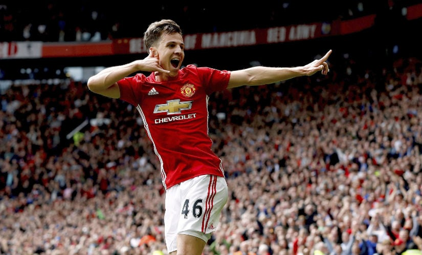 Twenty-one-year old Josh Harrop celebrates his first goal for Manchester United against Crystal Palace. AP