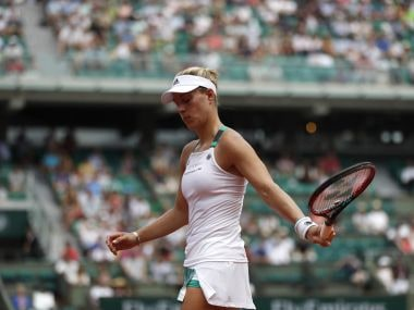 Angelique Kerber reacts as she plays Ekaterina Makarova at the French Open. AP Photo