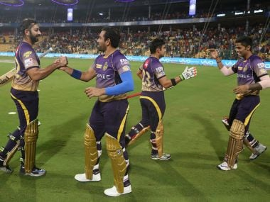 Kolkata Knight Riders players greet each other after winning the Eliminator. Sportzpics