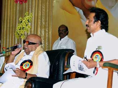 File image of M Karunanidhi and MK Stalin. PTI