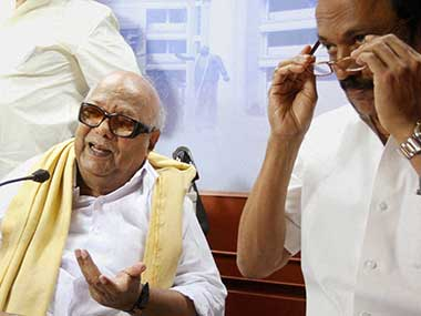 File image of M Karunanidhi and MK Stlain. PTI