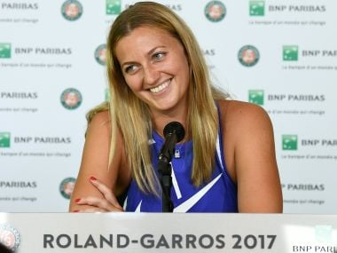 Czech Petra Kvitova attends a press conference ahead of the Roland Garros 2017 French Tennis Open on May 26, 2017 in Paris. / AFP PHOTO / JORGE GUERRERO