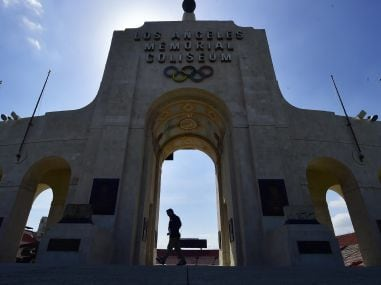 The Los Angeles Memorial Coliseum as the IOC evaluation committee visits the city ahead of vote. AFP