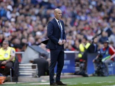Real Madrid's head coach Zinedine Zidane watches his team during a match. AP