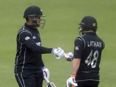 New Zealand's Tom Latham and Ross Taylor during the One Day International Tri Nations Series match against Ireland at Malahide Cricket Club Ground, Ireland, Sunday, May 21, 2017. (Niall Carson/PA Wire/PA via AP)