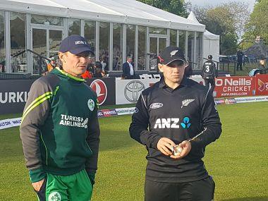 New Zealand captain Tom Latham and Ireland skipper William Porterfield. Image courtesy: Twitter/ @Irelandcricket