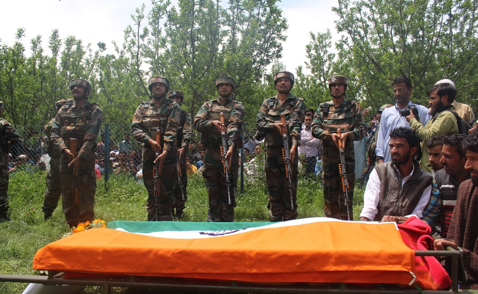The recently commissioned officer, was on leave for his sister's wedding, from where he was abducted. Fayaz would have turned 23 in June. His was laid to rest on Wednesday with full military honour. Image Courtesy: Indian Army