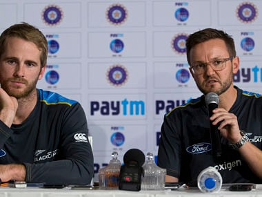 File image of New Zealand cricket captain, Kane Williamson and coach Mike Hesson. AP