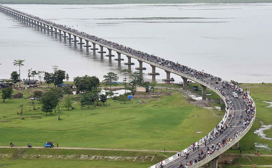 This handout photograph released by the Indian Press Information Bureau (PIB) on May 26, 2017 shows an aerial view of the Dhola-Sadiya bridge across the River Lohit, a tributary of the River Brahmaputra, which was inaugurated by Indian Prime Minister Narendra Modi in Assam. The 9.15-kilometre-long bridge to connect Assam state with Arunachal Pradesh is the longest bridge in India. AFP