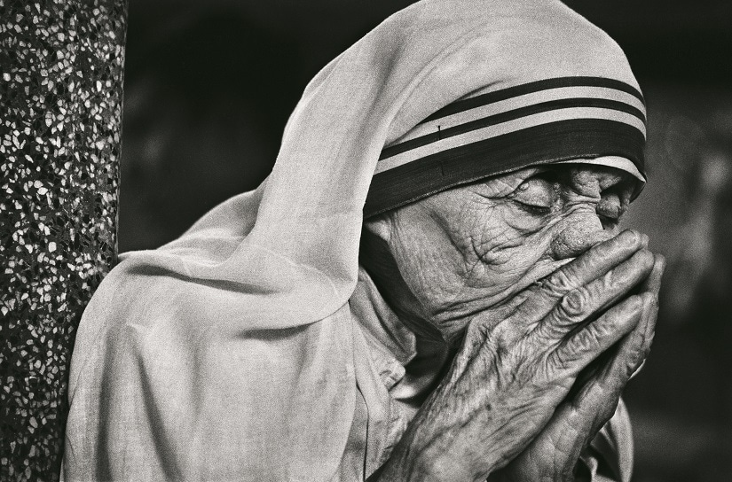 Mother in prayer/Rahu Rai. If I ever become a Saint I will surely be one of 'darkness'. I will continually be absent from Heaven—to [light] the light of those in darkness on earth.