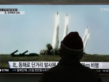 File photo of a missile test conducted by North Korea. AP