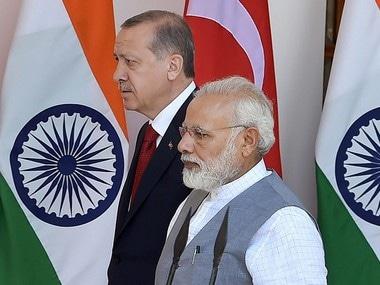 Prime Minister Narendra Modi with Turkish President Recep Tayyip Erdogan. PTI