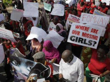 A file photo of a protest against the kidnapping of girls in Nigeria. AP
