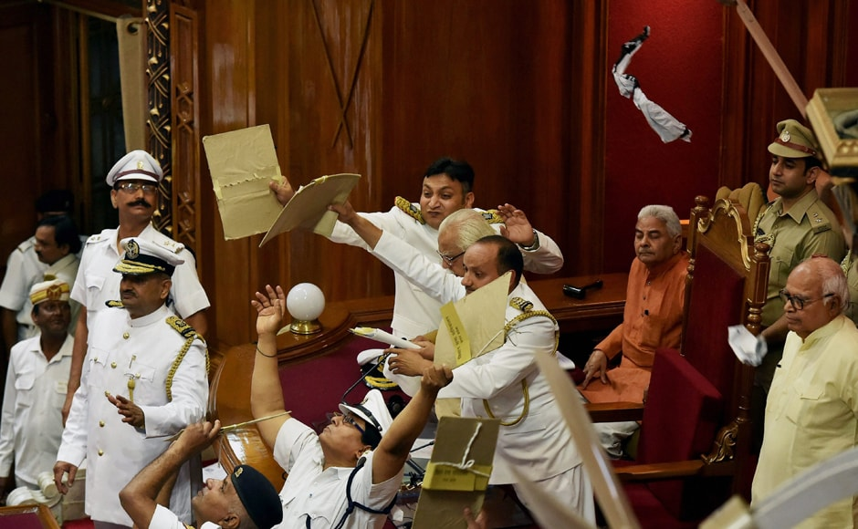 The first assembly session of Yogi Adityanath's government was disrupted by MLAs from Samajwadi Party and Bahujan Samaj Party who were protesting over alleged breakdown in the law and order situation in the state. <em>PTI</em>