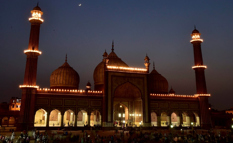 Muslims began observing the holy fasting month of Ramadan on Saturday. In the picture, moon can be seen over Jama Masjid in New Delhi. PTI
