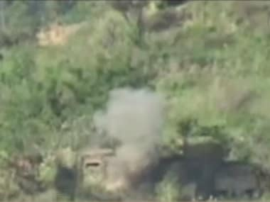A screen grab of the video, which shows the Indian Army attacking Pakistani posts across LoC. CNN-News18.