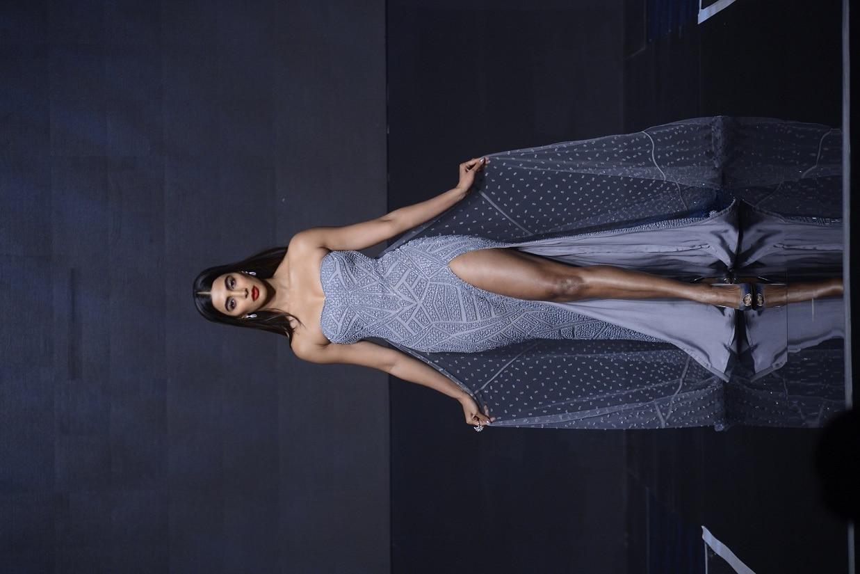 Pooja Hegde wearing Falguni Shane Peacock creation designed for IBM Watson at the India Cloud Forum