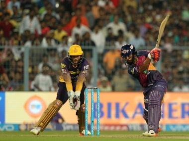 Rising Pune Supergiant's Rahul Tripathi drives against Kolkata Knight Riders. Sportzpics/IPL