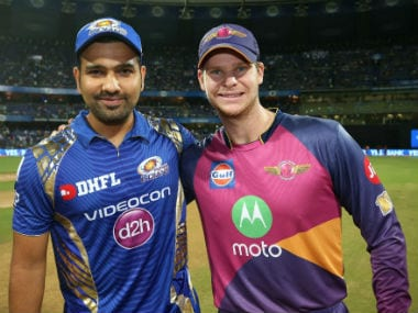 Mumbai Indians captain Rohit Sharma (L) with his Rising Pune Supergiant counterpart Steve Smith during a league match at the Wankhede. Sportzpics