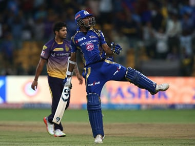Krunal Pandya of the Mumbai Indians celebrates after beating Kolkata Knight Riders to reach the final during the 2nd qualifier match. Sportzpics