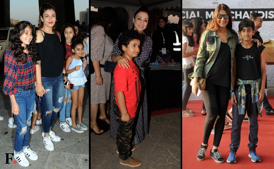 (from L-R) Raveena Tandon, Madhurima Nigam and Sonali Bendre were spotted with their children. Photos: Sachin Gokhale/Firstpost