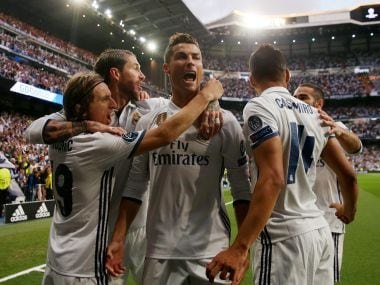 Real Madrid's Cristiano Ronaldo celebrates scoring their first goal with teammates Reuters
