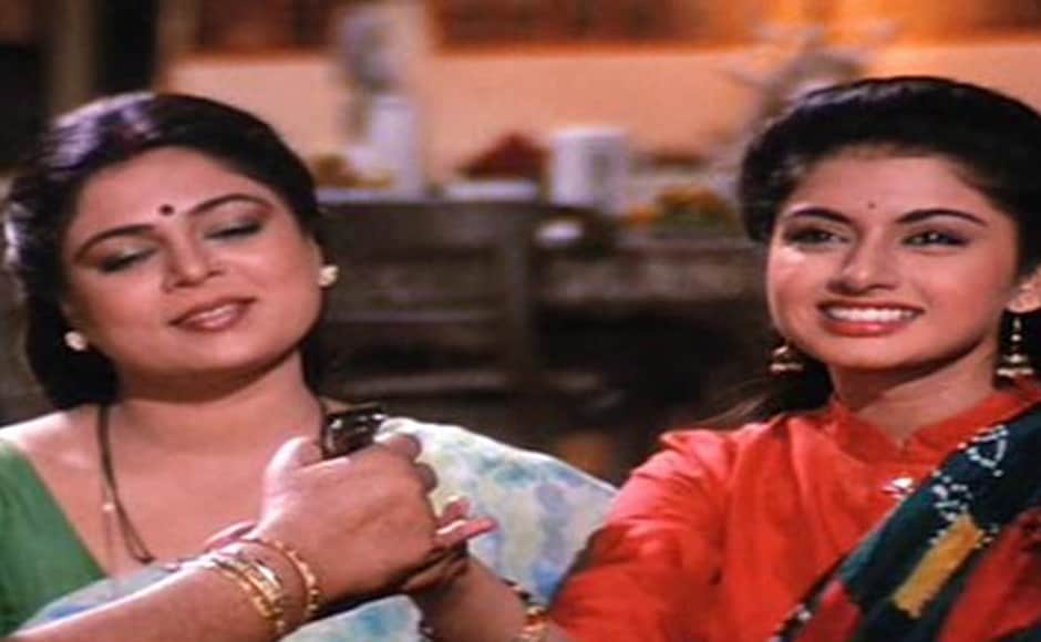 Here Reema Lagoo is seen with Bhagyashree in Maine Pyaar Kiya.