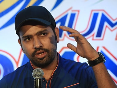 Mumbai Indians captain Rohit Sharma at a news conference in Mumbai. Getty Images
