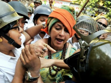 BJP leader Rupa Ganguly during the protest march in Kolkata on Thursday. PTI