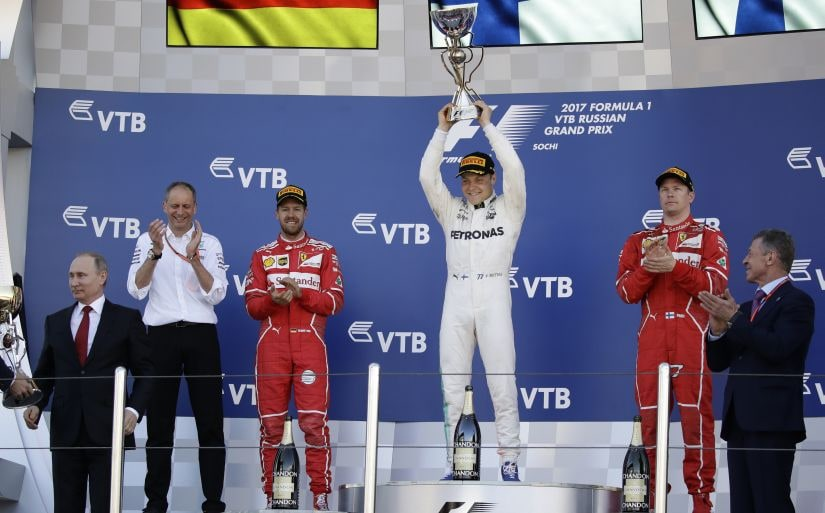 Mercedes driver Valtteri Bottas won the first title of his F1 career at the Russian Grand Prix. AP