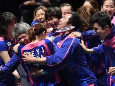 An excited South Korean badminton team after winning Sudirman Cup. Image courtesy: BWF