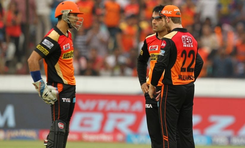 Sunrisers Hyderabad players during the match against Rising Pune Supergiant. Sportzpics/IPL