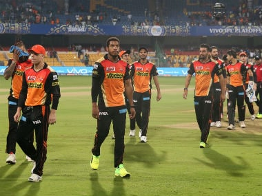 Sunrisers Hyderabad players wear a forlorn look after losing the eliminator. Sportzpics