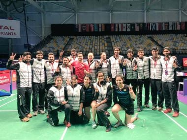 The Indian badminton team celebrate after qualifying for the quarter-finals. Image courtesy: Twitter/@BAI_Media