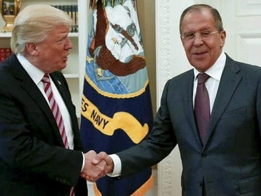 Washington : US President Donald Trump shakes hands with Russian Foreign Minister Sergey Lavrov in the White House in Washington, Wednesday, May 10, 2017. President Donald Trump on Wednesday welcomed Vladimir Putin's top diplomat to the White House for Trump's highest level face-to-face contact with a Russian government official since he took office in January. AP/PTI(AP5_10_2017_000305B)