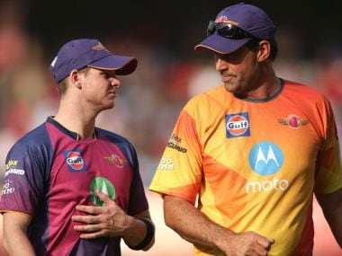 Rising Pune Supergiant captain Steven Smith & Rising Pune Supergiant coach Stephen Fleming during match 4 of the Vivo 2017 Indian Premier League between the Kings XI Punjab and the Rising Pune Supergiant held at the Holkar Cricket Stadium in Indore, India on the 8th April 2017 Photo by Shaun Roy - IPL - Sportzpics