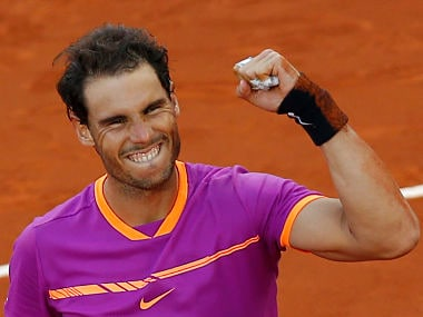 Spain's Rafael Nadal celebrates winning the final of the Madrid Open tennis tournament in two sets, 7-6 (10-8), 6-4, against Austria's Dominic Thiem. AP