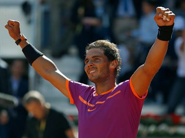 Rafael Nadal celebrates after defeating Novak Djokovic in their semifinal match at the Madrid Open. AP