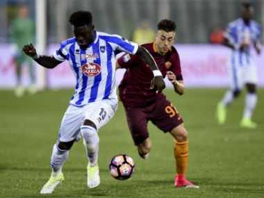 Pescara's Sulley Muntari in action against AS Roma. AFP