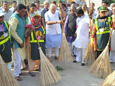 File image of Prime Minister Narendra Modi in a Swacch Bharat event. PTI