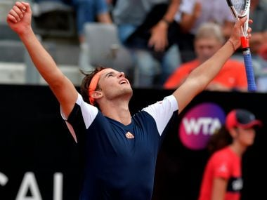 Dominic Thiem celebrates after defeating Rafael Nadal on Friday. AFP