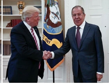 Donald Trump meeting with Russian Foreign Minister Sergey Lavrov in the Oval Office on  10 May