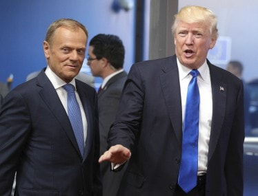 US President Donald Trump and European Union President Donald Tusk. AP