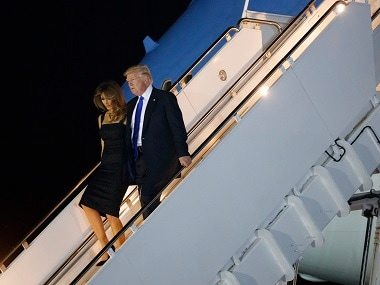 President Donald Trump and first lady Melania Trump arrives at Sigonella to attend G7 summit. AP